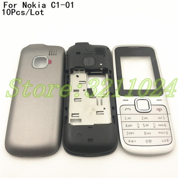 10Pcs/Lot Original Full Housing Case For Nokia C1-01 Cover Facing Frame + middle + back cover + keypad cell phone part With Logo
