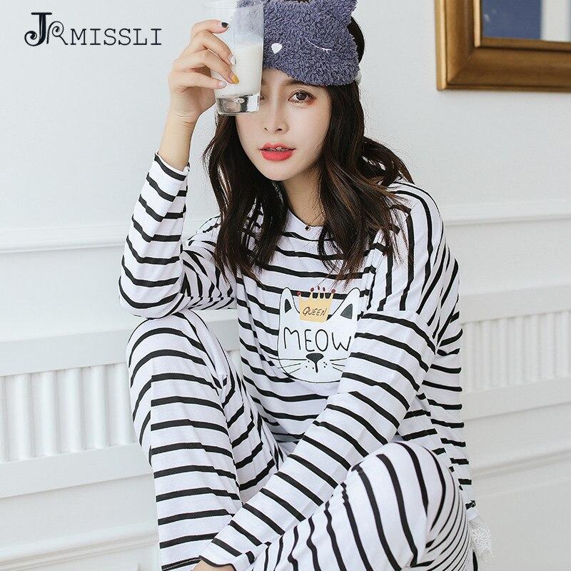 JRMISSLI Striped autumn pajamas ladies Lace cotton long sleeves leisure cartoon cotton suit pyjamas women pajamas Home Clothing ...
