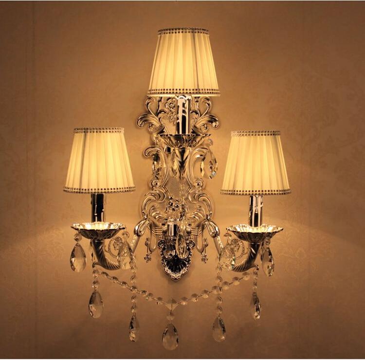 Free Shipping Crystal Wall Lamps 3 Lights Silver Smokey Color