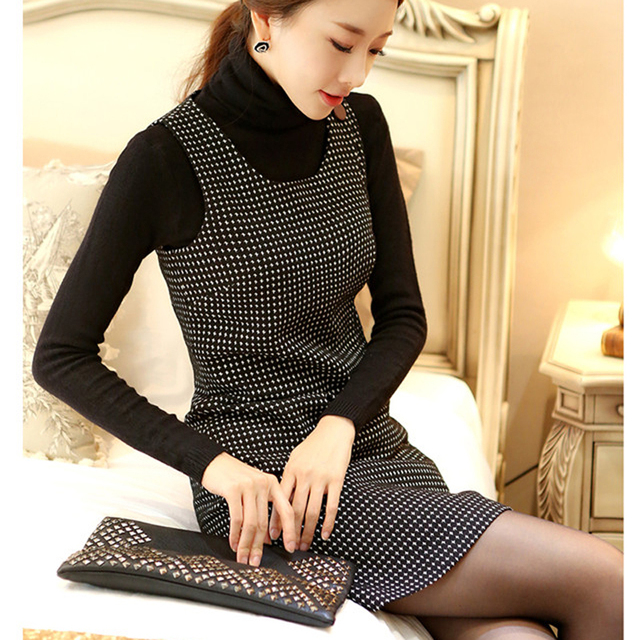 fd58234ca9 Autumn and winter dress women sleeveless pullover woolen vest casual  dresses houndstooth one-piece dress free shipping