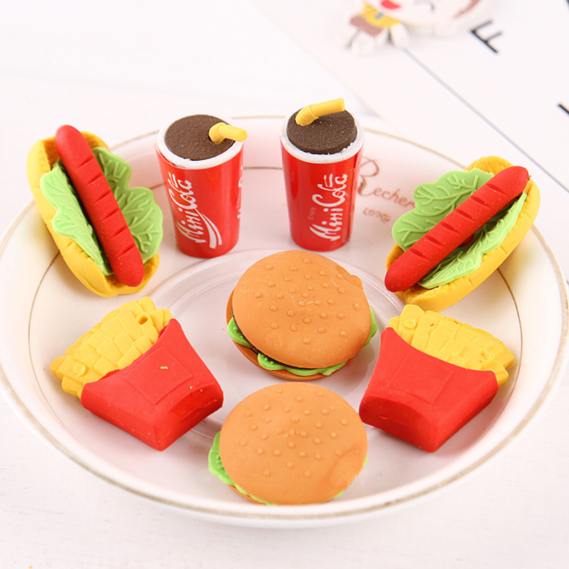 Can Be Assembled KFC Package Eraser Creative Cartoon Rubber Set Student Children School Supplies Gift
