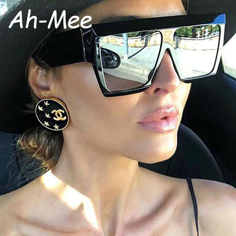 2019 Women Sunglasses Oversize Square Fashion Female Men Acetate Frame Flat Top Vintage Brand Designer Sun Glasses Black Shades