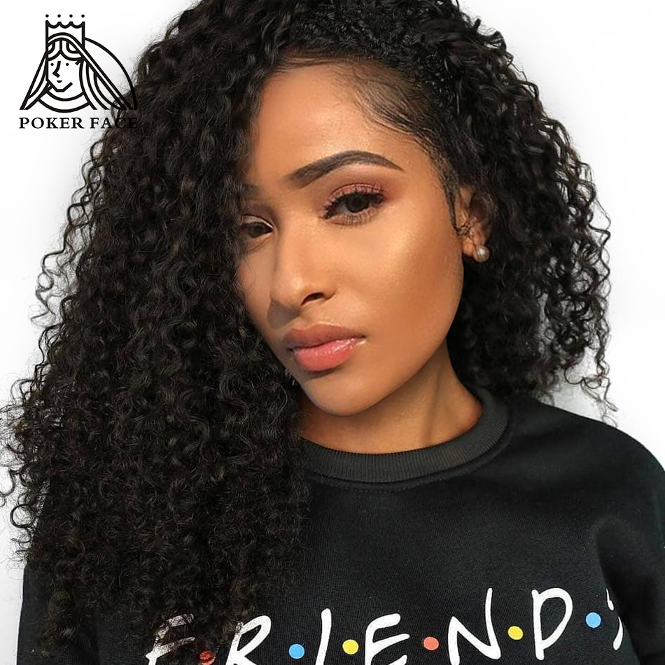 Poker Face Deep Wave 360 Lace Frontal Wig 250 Density Pre Plucked Brazilian Curly Human Hair