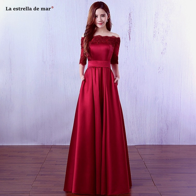 33f89f9b57 US $41.0 18% OFF wedding party dress hot sale satin Boat Neck half sleeve A  Line burgundy champagne dark green ivory bridesmaid dresses short und-in ...