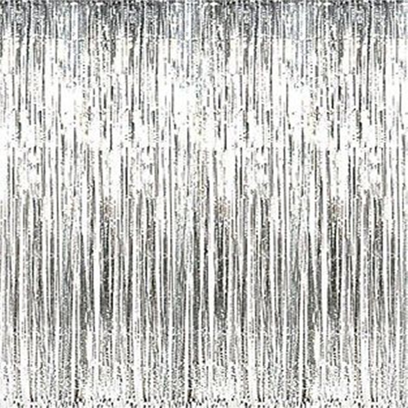 Lovely 3 Ft. X 8 Ft Metallic Silver Foil Fringe Curtain Shimmer Curtain Birthday  Decor New Christmas New Year Decorations In Party Backdrops From Home U0026  Garden On ...