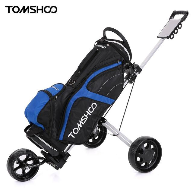 Tomshoo Golf Cart Foldable 3 Wheels Push Aluminum Pull With Footbrake System Bag