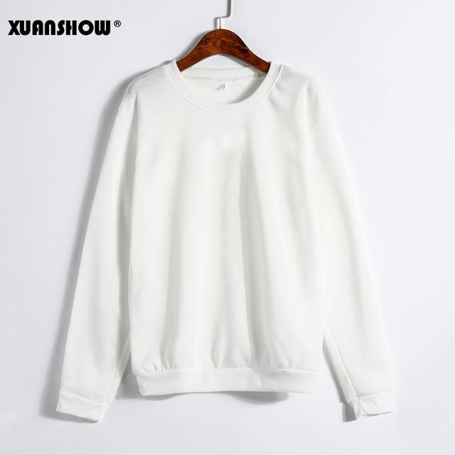 XUANSHOW Spring Autumn Winter Unisex Sold Color Clothes Fleece Long Sleeve Man Woman Pullover Moletom Sudadera Mujer S-5XL