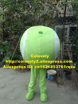 3006aab20 Mischievous Green Tennis Ball Tenis Ball Squash Racket Ball Mascot Costume  Cartoon Character Mascotte Adult No.9820 Free Ship