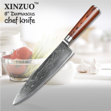 XINZUO 73 layers High quality Japanese VG-10 Damascus steel 8″ inch kitchen chef knife with Color wood handle free shipping