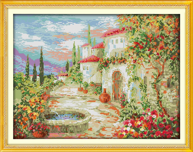 A beautiful garden (3), counted printed on fabric DMC 14CT 11CT Cross Stitch kits,embroidery needlework Sets, Home Decor