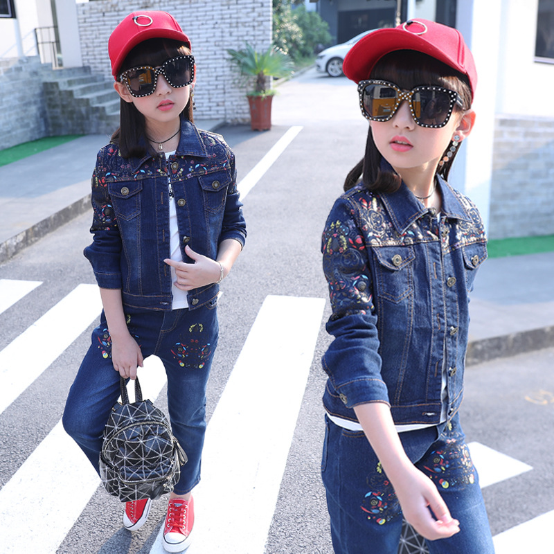 Children's wear cowboy suit 2018 spring and autumn baby girl denim clothes set fashion coat+jeans body suit for girls clothing denim coat for girls children s clothing jackets autumn spring outfits kids clothes baby girl top outerwear fashion jeans gh083