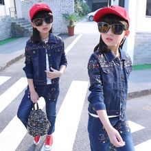 Children's wear cowboy suit 2019 spring and autumn baby girl denim clothes set fashion coat+jeans body suit for girls clothing все цены