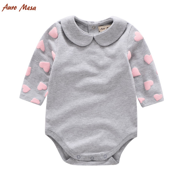 6bdbb362c 100% Cotton Girl Bodysuit Pink Love Heart Pattern Full Grey Onesie ...
