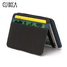 CUIKCA Korean Version Magic Wallet Money Clips Patchwork Nubuck Leather Wallet Carteira Women Men Slim Wallet Purse ID Card Case(China)