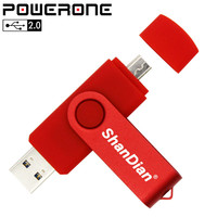 Powerone Business plastic 2 in one OTG USB Flash Drive Portable pendrive 4GB 8GB 16GB 32GB 64GB memory stick for smart phone