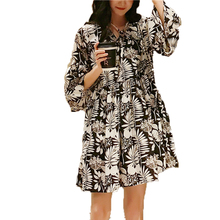 WAEOLSA Women Romantic Dresses Black Flower Pattern Print Dress Woman Ruffle Sleeve Robe Femme V Neck Ladies Crepe Wrap Dresses flower print flutter sleeve wrap dress