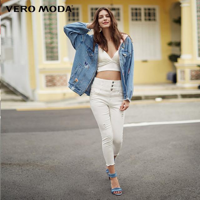 Vero Moda 2019 Spring Embroidery Rip Raw-edge Hooded Denim Coat 318157509