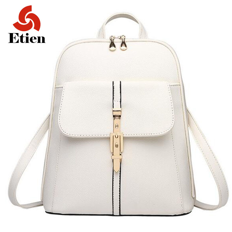 ФОТО Women backpack school bags for teenage girls backpack PU leather woman litchi multicolor retro lock backpack shopping