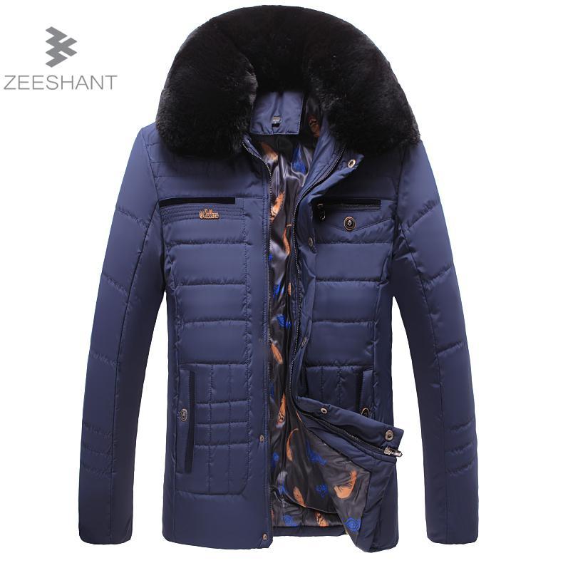 ZEESHANT Navy Parka Men Winter Jacket Men Fashion Design Big Fur Collar Men's Warm Cotton Jacket Coat male Manteau Homme Hiver