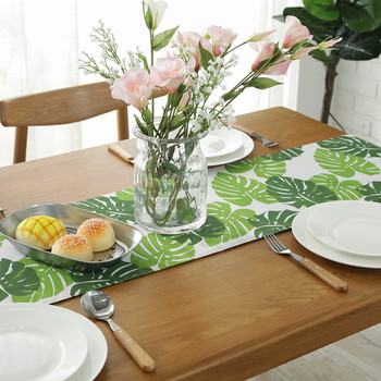 Cotton Green Leaf Table Runner