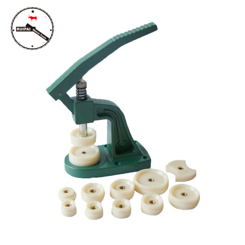 Metal Hand-operated Watch Back Case And Watch Crystal Glass Close Press Tool,Watch Press Tools With Assort Size Nylon Dies