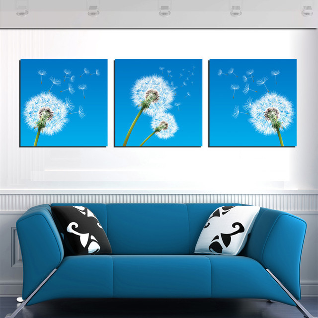 3 Piece Art Wall Hang Pictures Dandelion Painting Canvas For Kids