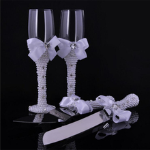 1 pair Wedding Bridal Shower Gift wedding pearl Champagne Toasting Glasses Set pearl wedding wine cup +pearl Cake knife