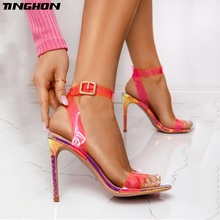 TINGHON Classic PU Transparent Thin High Heel Buckle Strap Sandals Women Round Toe Clear Fluorescent Red Party Shoes