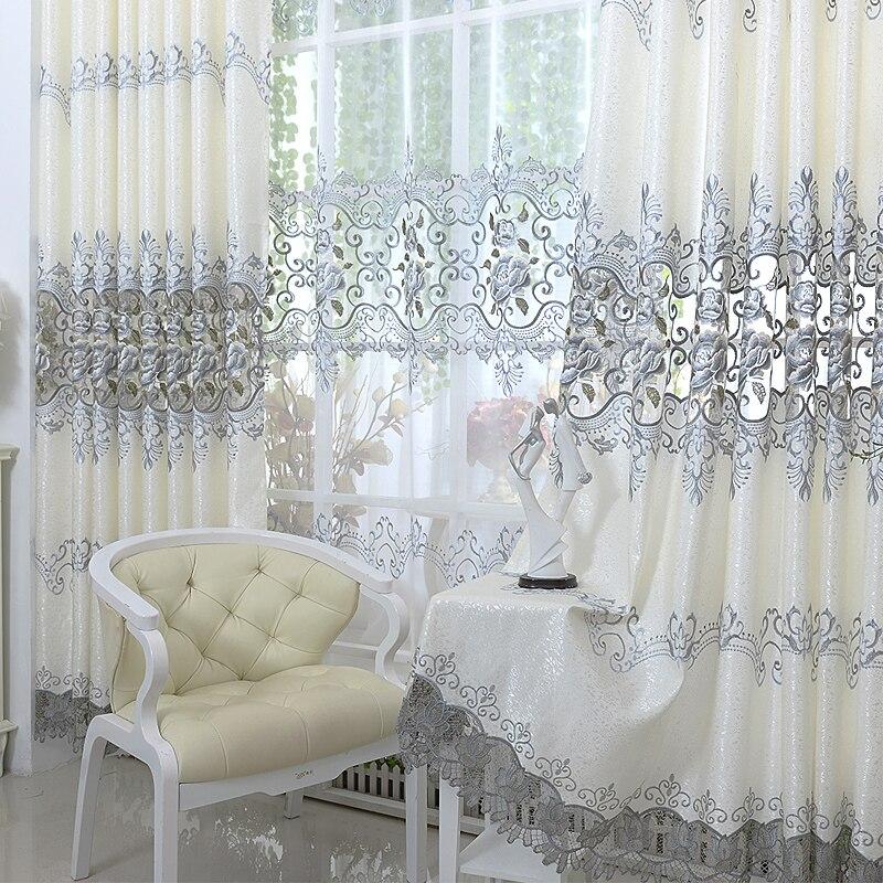 Роскошные европейские вышитые тюлевые оконные шторы для гостиной светонепроницаемые шторы для спальни портьеры для обработки окон домашн...