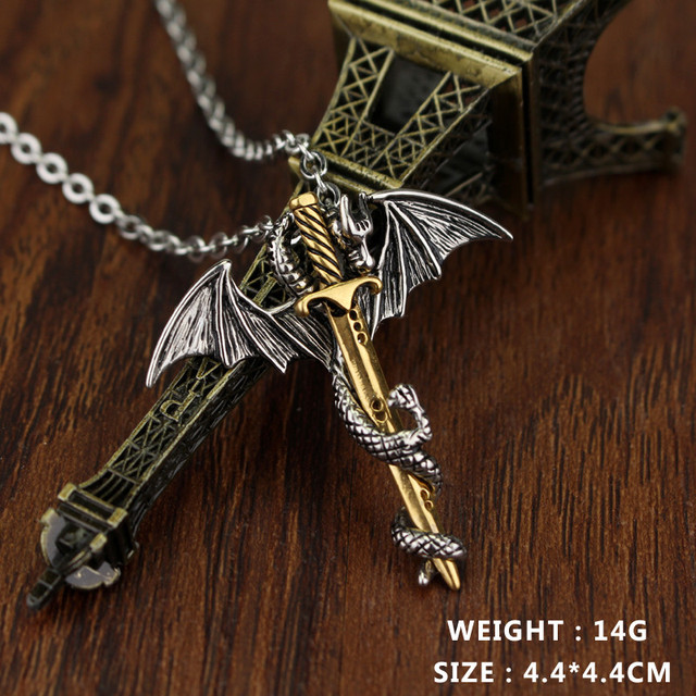 dongshengLuminous Dragon Sword Pendant Necklace Game Of Throne Chain Long Necklace Pterosaur Sword Jewelry Men Punk Necklace -30