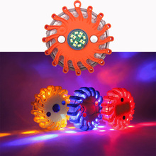 Flashing Light LED Round Beacon Emergency Strobe Warning Lights Round Car Roof Police Lightbar Road Safety Automobiles Red blue high power 240 led car roof flashing strobe beacon warning light magnet police led emergency flare vehicle lightbar 12v 6 colors