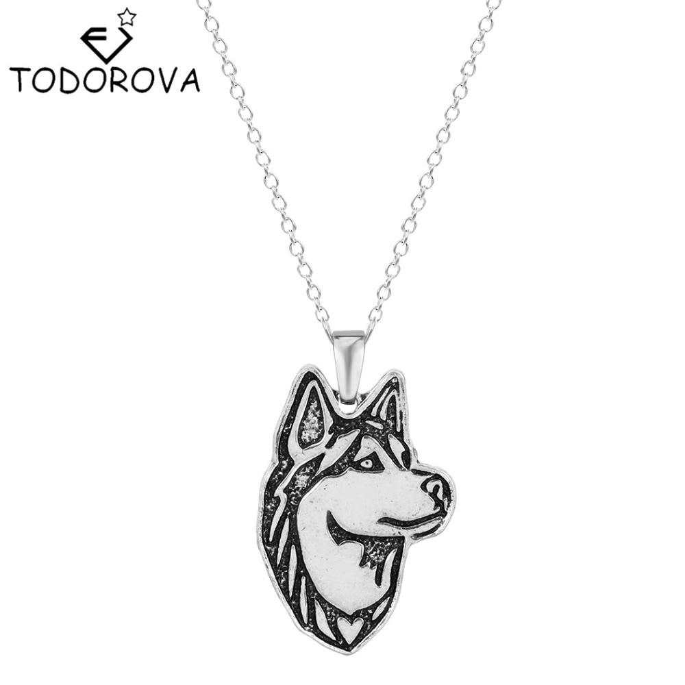 Todorova Hot Sale Siberian Husky Dog Animal Necklace & Pendants Pet Lovers Birthday Gift Women Jewelry Bijouterie Big Discount