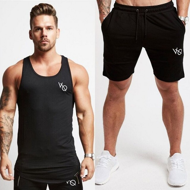 f539daf2eb61 2018 New Fashion Summer Short Sets Men Casual Vanquish Printing Suits For Men  Chinese Style Suit Sets Tank Tops + Shorts