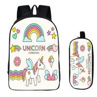 16 inch Kawaii Unicorn Rainbow Horse School Bag for Kids Girls Backpack Children School Sets Pencil Bag Toddler Schoolbag