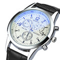 Fantástico blanco elegante Top Luxury brand Relojes hombres Inoxidable correa de Cuero De Imitación de Cuarzo de la venda de reloj fino Dial Reloj hombre SÍ 09