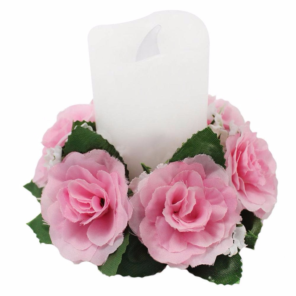 new candle rings silk wedding decoration handmade flower rose tabletop mainland