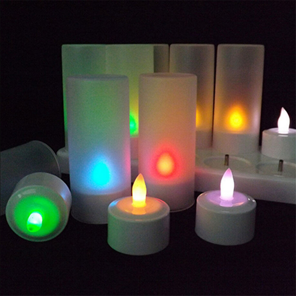 led rgb rechargeable 12pcs flameless tea light candles with remote controller tea light led. Black Bedroom Furniture Sets. Home Design Ideas