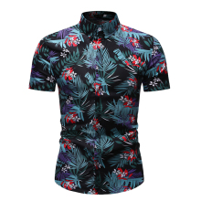 2019 Summer Fashion Mens Shirts Slim Fit Short Sleeve Flower Floral Shirt Clothing Trend Casual Hawaiian M-5XL