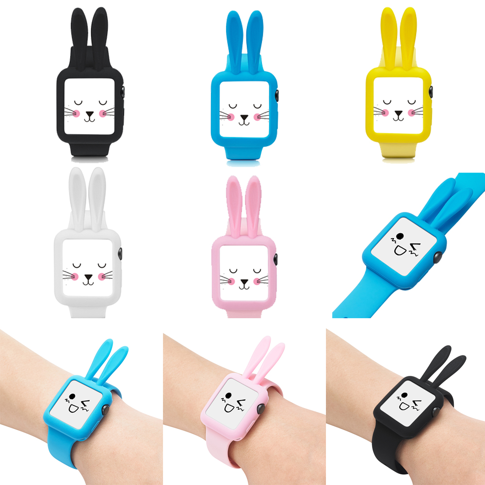 Cute Cartoon Rabbit ears Soft Silicone Protective Case For Apple Watch Series 1 2 3 Cover sport for apple watch 38mm 42mm case cute cartoon style protective pc back case for iphone 5 multicolor