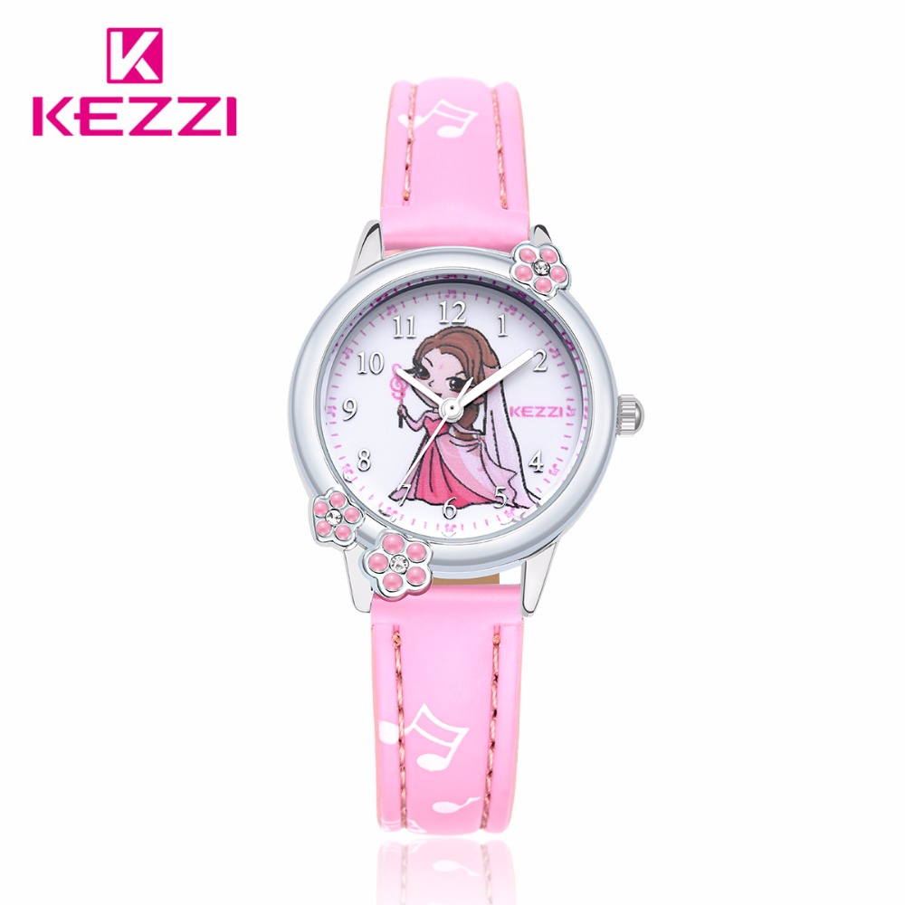 New kezzi brands children fashion casual watch girl cute love color pattern sweet quartz for Watches brands for girl
