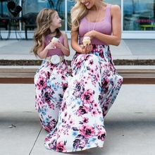 Mother Daughter Dresses Sleeveless Floral Long Dress Clothes Mom and Family Matching