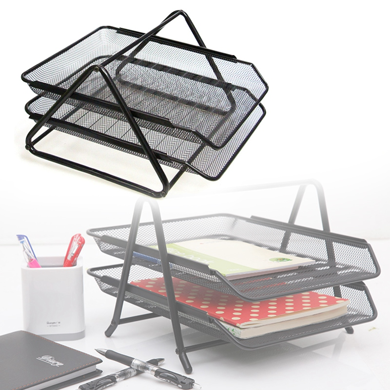 Office Filing Trays Holder A4 Document Letter Paper Wire Mesh Storage 2 TiersOffice Filing Trays Holder A4 Document Letter Paper Wire Mesh Storage 2 Tiers