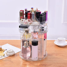 2018 Clear Makeup Organizer Rotatable Cosmetic Jewelry Storage Holder for Lipsticks Eyeshadow Nail Polish(China)