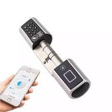 L5PCB Bluetooth digital seguro bloqueo puerta teclado inteligente inalámbrico Bluetooth contraseña cilindro de cerradura electrónica con manija de la puerta