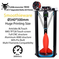 TEVO Delta Printing Area D340xH500mm OpenBuilds Extrusion Smoothieware MKS TFT28 Bltouch High Speed