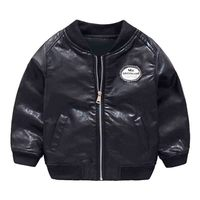 Mudkingdom Boys Winter Warm PU Leather Bomber Jacket Coats Kids Baby Boy Clothes Boys Faux Leather