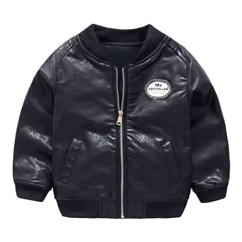 Mudkingdom Boys Winter PU Leather Bomber Jacket Kids Zipper Letter Print Baseball Coat With Pockets Autumn Black Cool Outerwear цена 2017