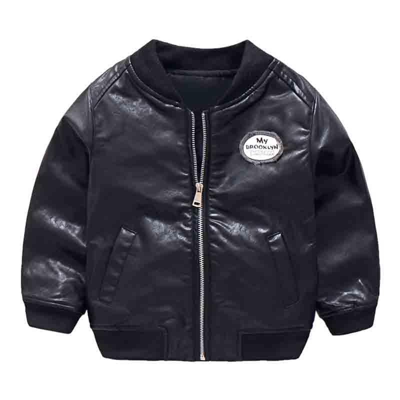 Mudkingdom Boys Winter PU Leather Bomber Jacket Kids Zipper Letter Print Baseball Coat With Pockets Autumn Black Cool Outerwear striped trim zipper up bomber jacket