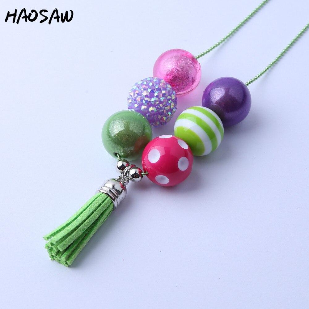 Fashion Handmade DIY Jewelry Chunky Bubblegum Beads Green Flocking Tassels Pendant Chain Necklace KQLN-0009