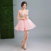 Short Pink Homecoming Dresses Mini Vestidos De Graduacion Tulle With Lace Special Occasion Dresses Formal Party Gown